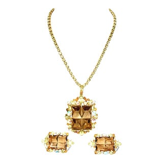 20th Century Gold, Crystal & Glass Demi Parure Necklace, Earrings, Brooch - Set of 4 For Sale