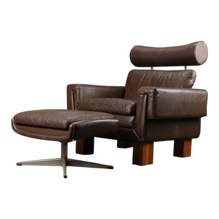 1960s Mid-Century Modern Skipper Furniture Wingback Armchair and Ottoman For Sale