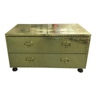 Vintage Sarreid Brass-Clad Trunk