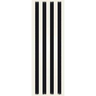 Black & White Striped European Design Rug - 2' X 6'