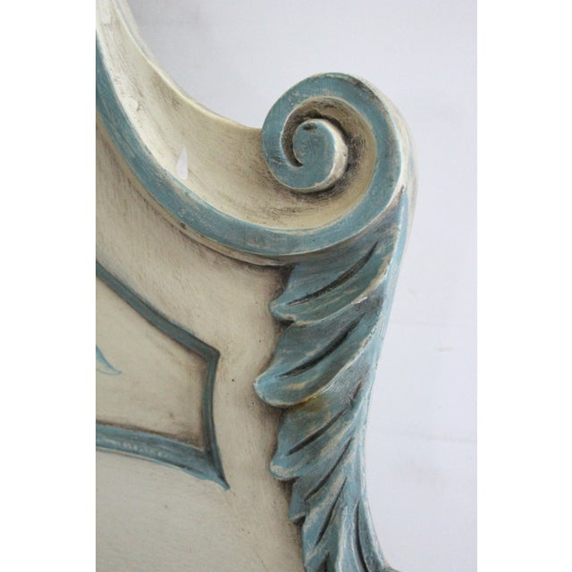 Shabby Chic Cream and Blue King Headboard - Image 4 of 5