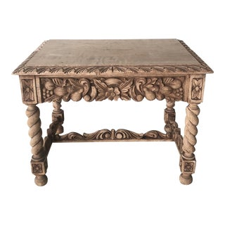 Antique Spanish Carved Side Table For Sale