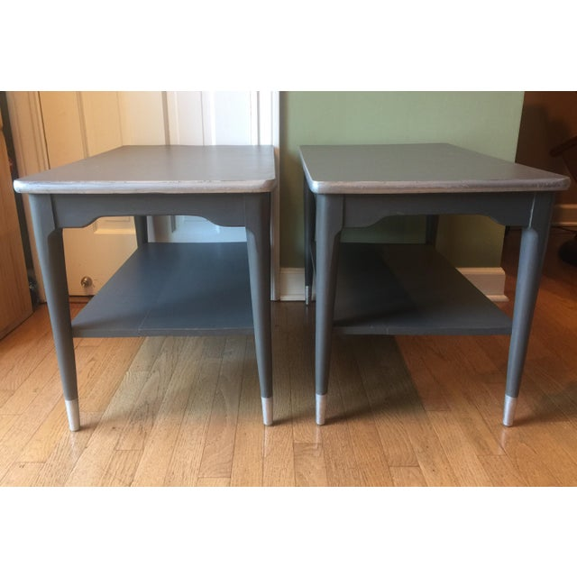 Mid-Century Gray & Silver End Tables - A Pair - Image 3 of 5