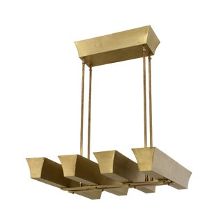 American 1940s Brass Chandelier With Four Narrow Rectangular Uplight Panels For Sale