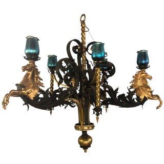 1960s Vintage Bronze & Wrought Iron Palatial Stallions Chandelier For Sale