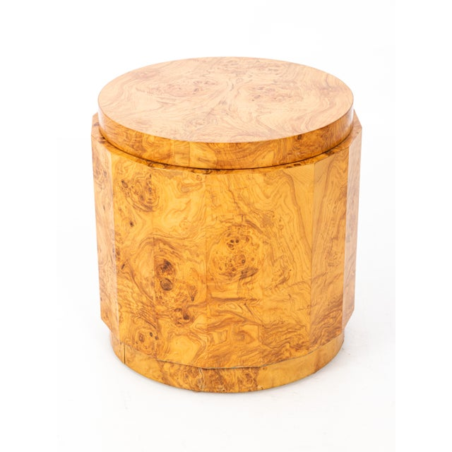 1950s Mid-Century Modern Edward Wormley for Dunbar Burl Olive Wood Side Table For Sale - Image 5 of 9