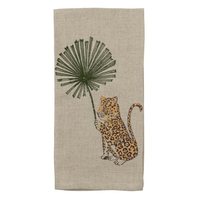 2010s Jaguar With Palm Right Tea Towel For Sale - Image 5 of 5