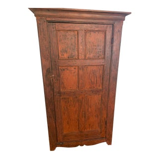 Distressed Painted Vintage Vermont Cupboard For Sale