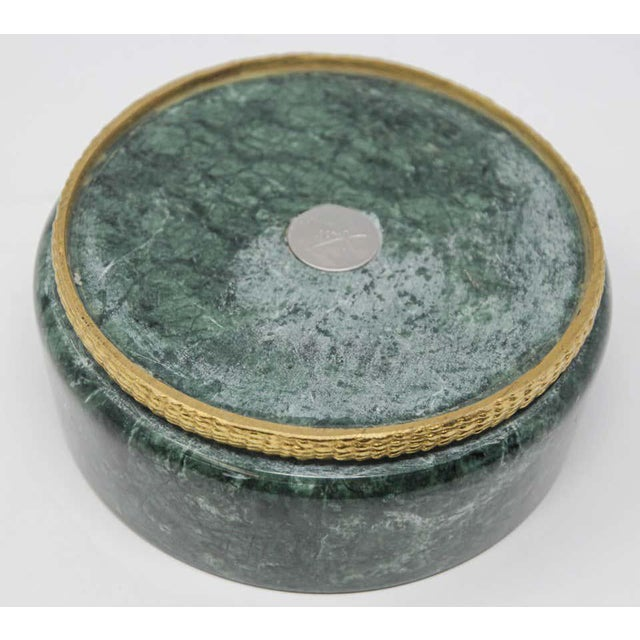 Modern Italian Green Marble and Brass Footed Bowl For Sale - Image 4 of 8
