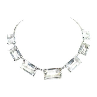 Rock Crystal & Sterling Necklace, 1940s For Sale