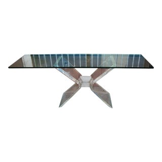 1970s Lucite Base and Glass Top Console Table For Sale