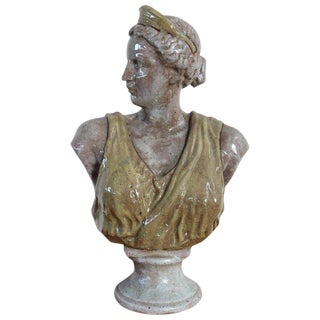 20th Century Italian Sculpture in Glazed Clay Bust of a Roman Woman For Sale