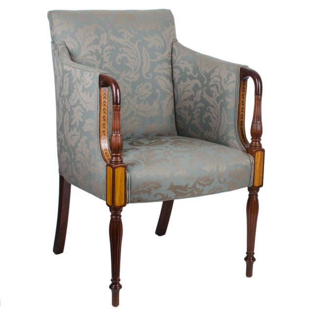 Southwood Sheraton Style Inlaid Mahogany Club Chairs - A Pair For Sale - Image 4 of 10