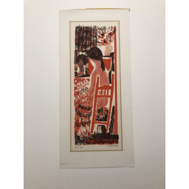 Color woodcut print signed N. Praden and numbered 53 of 75 Image: 16.25 x 6.25 inches Sheet: 19.75-in. x 9 inches