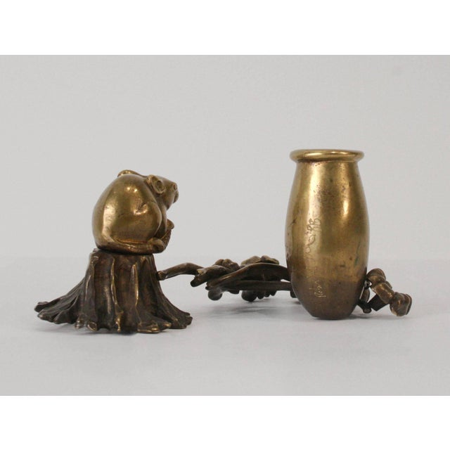 """Robert Lee Morris """"Mouse with vase and flowers candleholder"""", 1990s brass. Signed."""