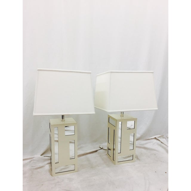Glass Vintage Mid-Century Mirrored Lamps - A Pair For Sale - Image 7 of 10