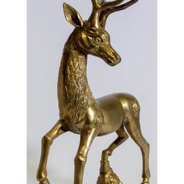 Hollywood Regency Cast Polished Brass Standing Stag Sculpture, 1960s For Sale In Los Angeles - Image 6 of 13