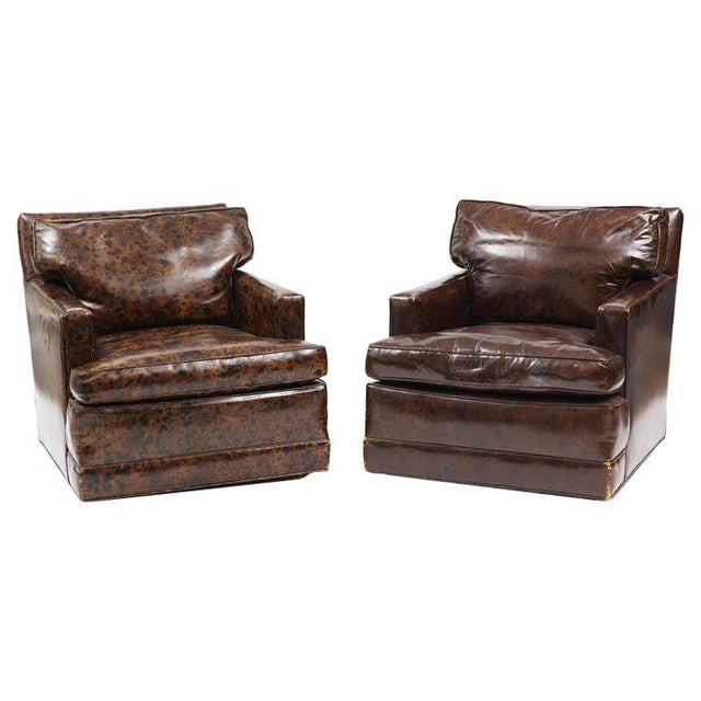Pair of Oil Drop Leather and Down Club Chairs For Sale In Phoenix - Image 6 of 6