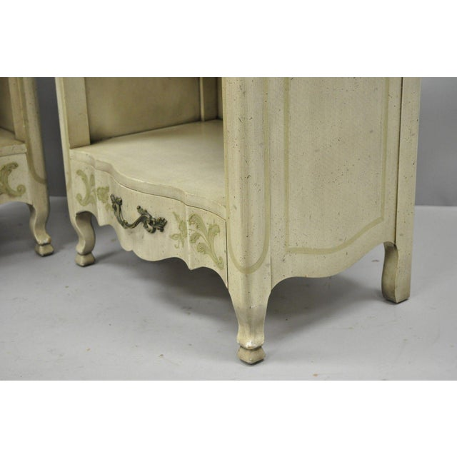 John Widdicomb Country French Provincial Cream Paint Nightstands - a Pair For Sale - Image 10 of 13