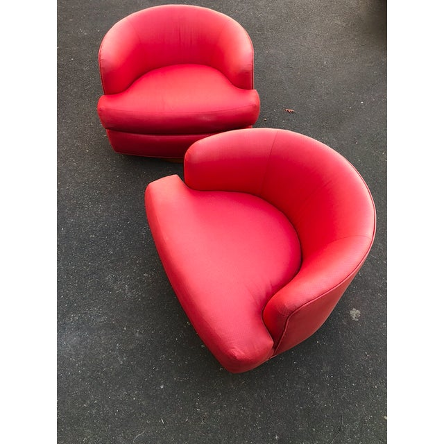 Vintage Milo Baughman Style Custom Swivel Chairs in Original Coral Fabric - a Pair For Sale - Image 10 of 11