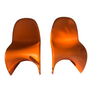 Orange Vitra Verner Panton Junior Chairs - A Pair For Sale