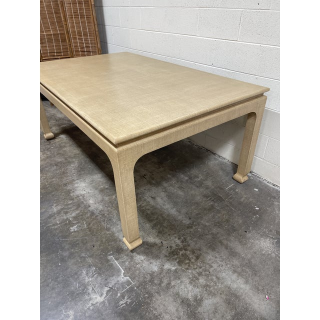 Modern Harrison Van Horn Grass Cloth Dining Table For Sale - Image 3 of 8
