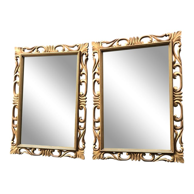 Vintage Gold Resin Framed Mirrors - A Pair   Chairish