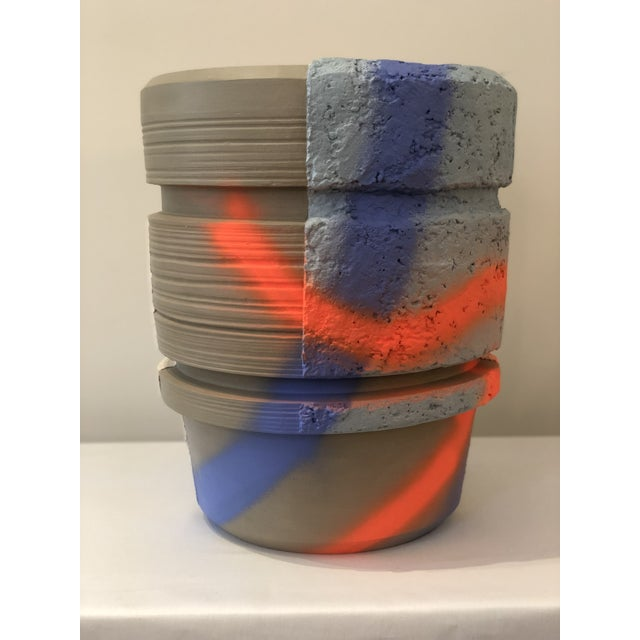 Modern Ceramic Planter With Orange and Blue Design For Sale In New Orleans - Image 6 of 6