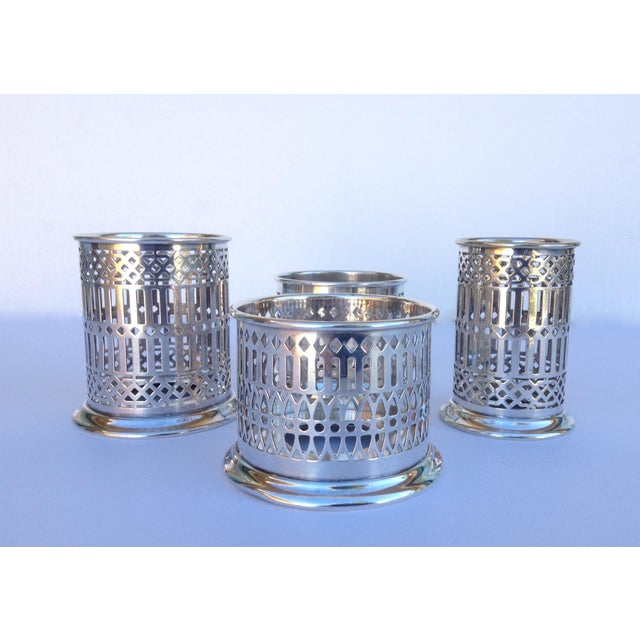 Vintage; Silver plated Celtic style, English reticulated syphons stands. There are a set of 4. Marked on the underside of...