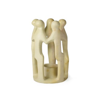 Vintage Hand Carved Stone Circle of Friends Unity Statue Candle Holder Preview