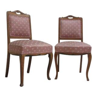 Antique Tiger Oak Quarter Sawn Side Chairs - A Pair