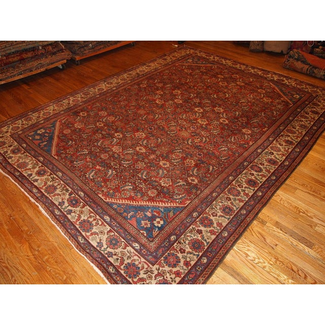 "Islamic Antique Persian Handmade Mahal Rug - 8'9"" X 11'7"" For Sale - Image 3 of 10"