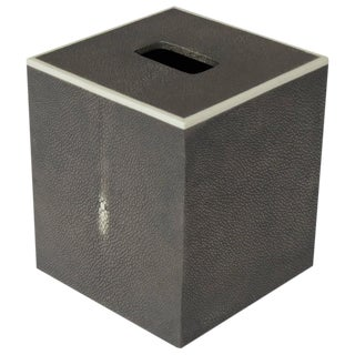 Gray Shagreen Tissue Box For Sale