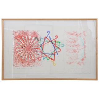 """Abstract Numbered 19 and Signed Print by Pop Artist James Rosenquist """"Number Wheel Dinner Triangle"""""""