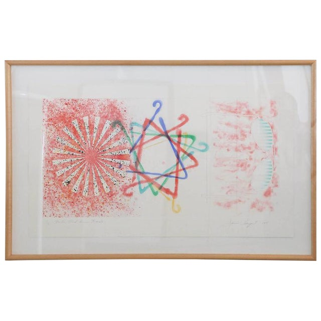 """Abstract Numbered 19 and Signed Print by Pop Artist James Rosenquist """"Number Wheel Dinner Triangle"""" - Image 1 of 6"""