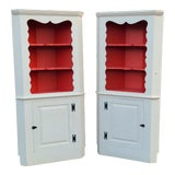Image of Pair Painted White Early 20th Century Country Primitive Corner Cabinet Cupboards C1900 For Sale
