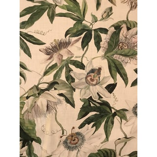 Country Clarence House Passion Flower Designed by Titley & Marr Linen Fabric - 3 6/8 Yards For Sale