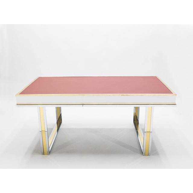 Unique French Desk White Lacquer Brass Red Leather by Atelier La Boetie, 1974 For Sale - Image 10 of 13