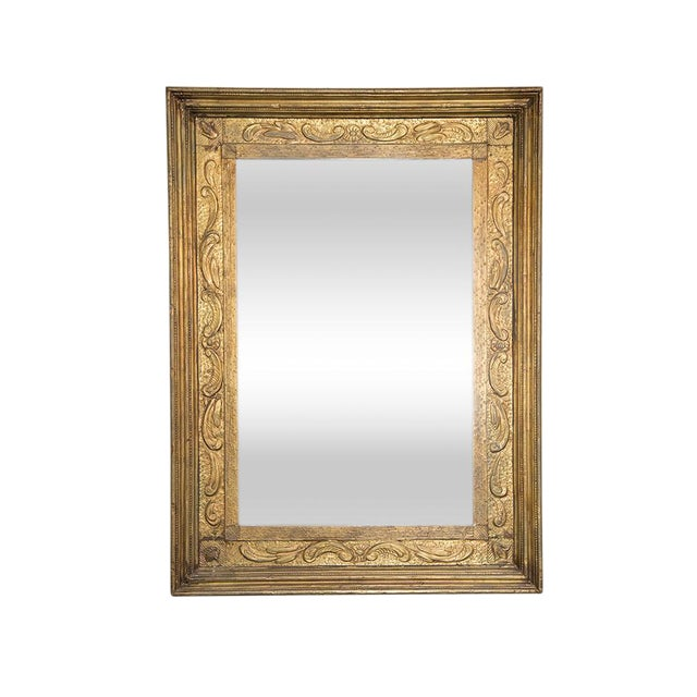 cc0c08126 Antique Gold Mirror With Pressed Metal Detail | Chairish