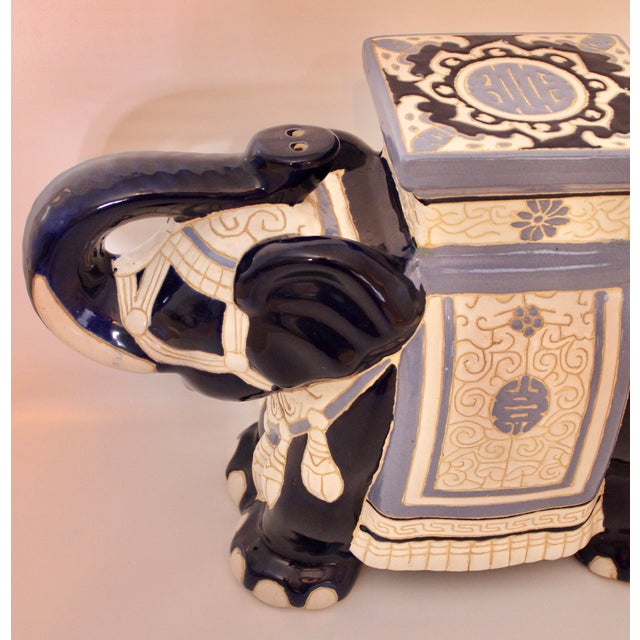 Mid 20th Century Vintage Blue and White Ceramic Elephant Garden Stool For Sale - Image 5 of 13