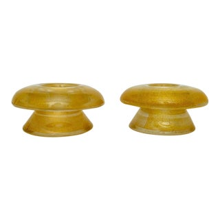 Mid-Century Modern Murano Glass Candle Holders With Infused Gold - a Pair For Sale
