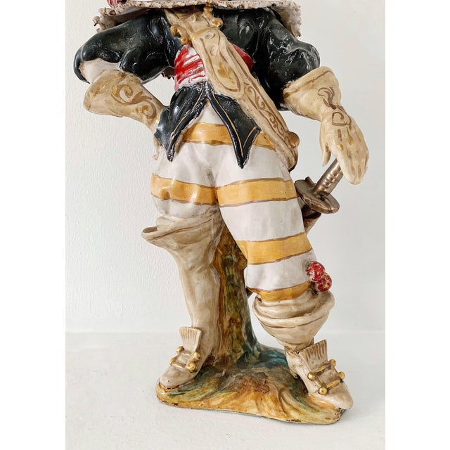 "Ceramic 1920s Vintage A. Ciolli Italian Glazed Ceramic ""Musketeer"" Signed Figurine For Sale - Image 7 of 10"