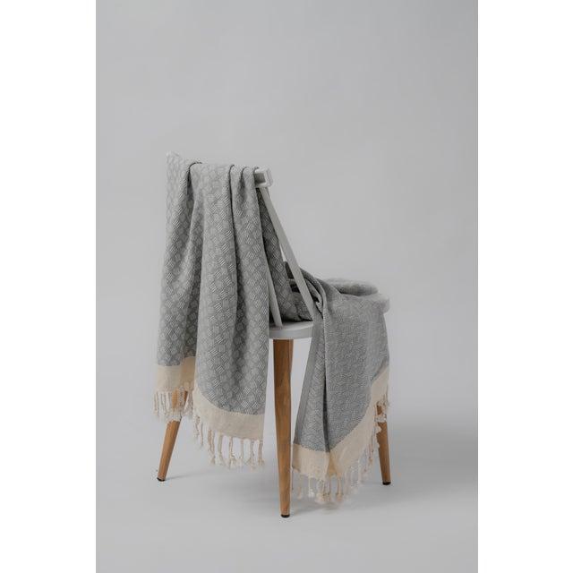 2020s Modern Love Handmace Organic Cotton Towel in Slate Grey For Sale - Image 5 of 6