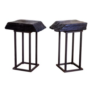 Yakisugi Shou Sugi Side Tables - a Pair For Sale