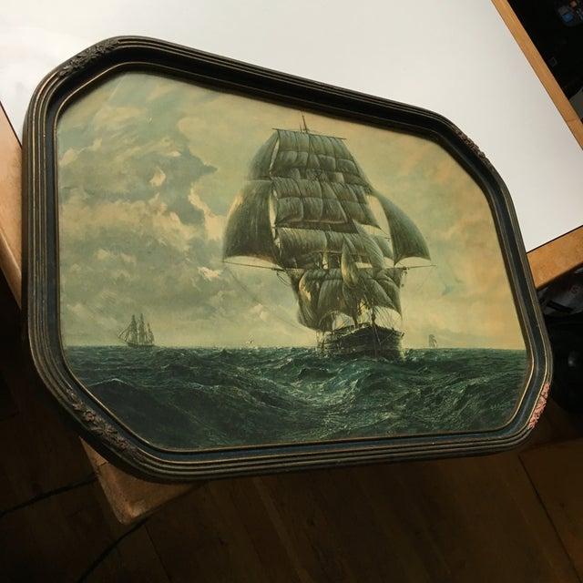 Americana Antique Framed Ship Print For Sale - Image 3 of 11