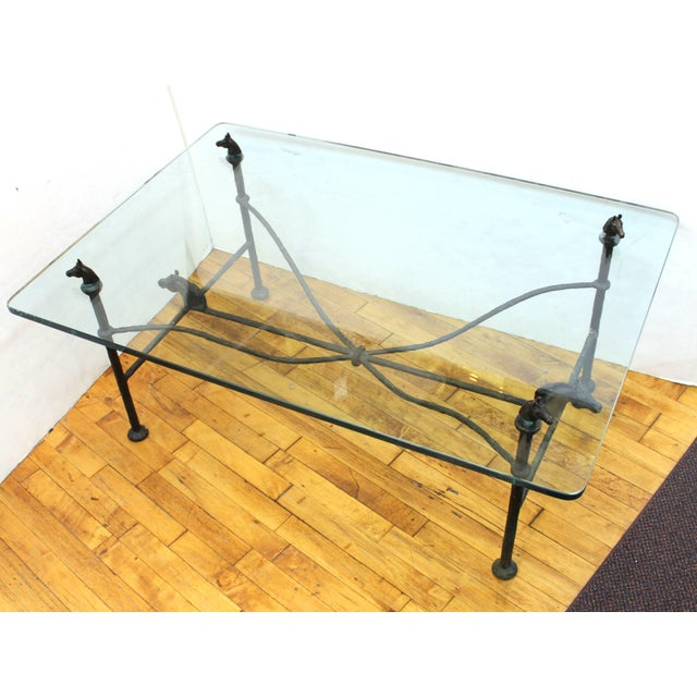 Chodoff Bronze Coffee Table in Giacometti Manner with Horse Heads and Glass Top For Sale - Image 10 of 13
