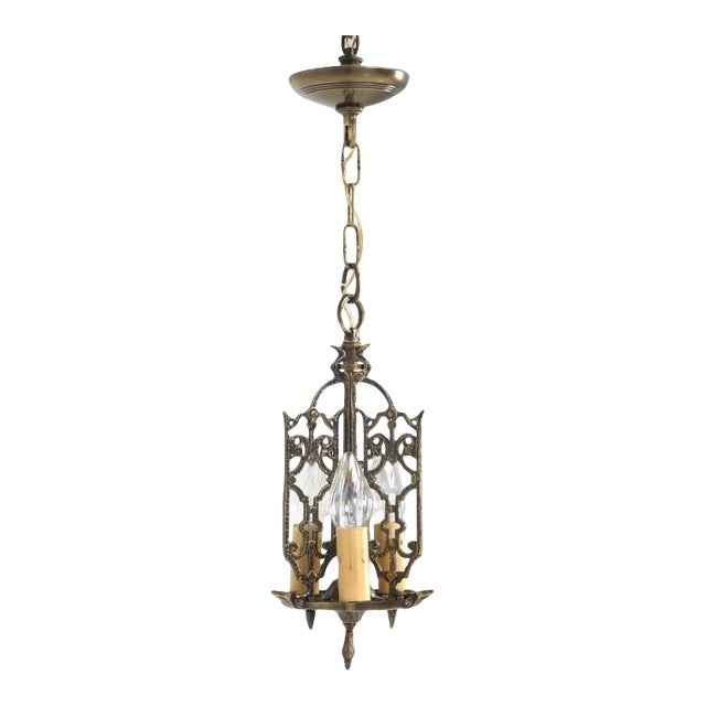 American Solid Brass Chandelier Circa 1908 For Sale
