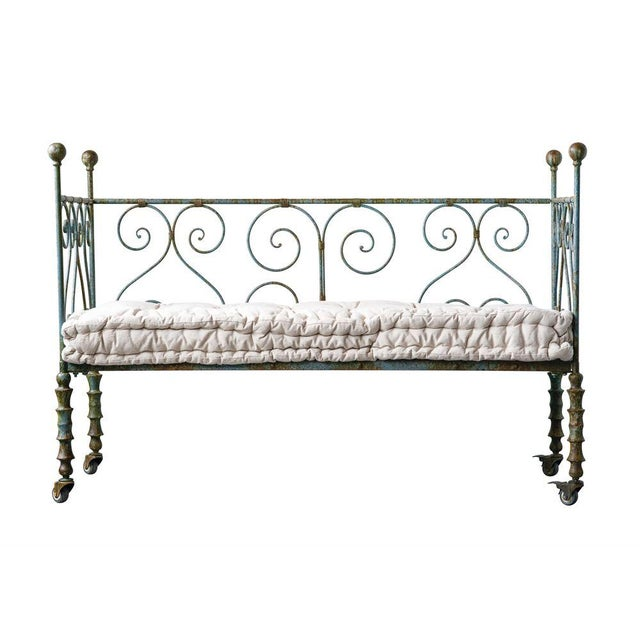 French Country Antique Style Metal Day Bed For Sale - Image 3 of 5