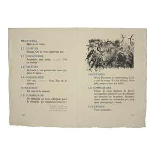 """Pages 126/123"", Original Lithograph From the Illustrated Play, ""Orphee"", by Jean Cocteau, Circa 1944 For Sale"