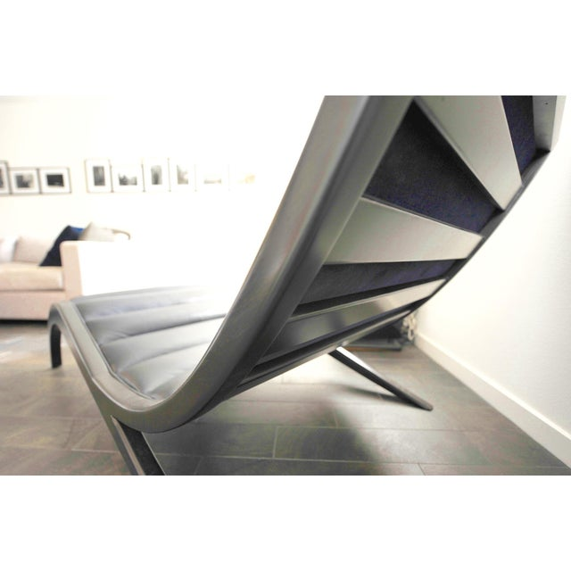 Cerused Walnut & Navy Leather Chaise - Image 3 of 4